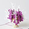 飛び出すグリーティングカード 花束 紫/白